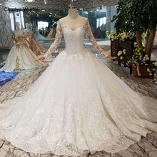 HTL109 Western style wedding dresses pure new o neck long appliques tulle sleeves wedding gown платье на бретельках