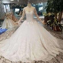 HTL109 vestidos de boda de estilo occidental puro nuevo cuello redondo apliques largos de tul mangas vestido de novia de la muchacha