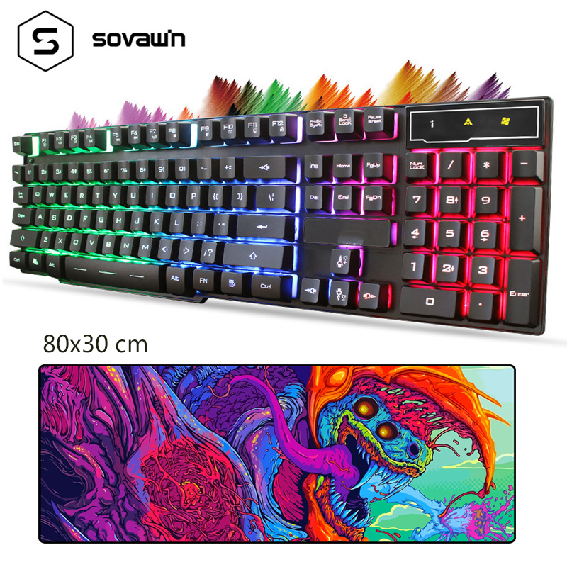 104 Key Waterproof Gaming Keyboard With Backlight LED Rainbow Wired Keyboard PC USB Gamer For Computer With Large Mouse Pad Mat