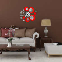 Special Design 3D Home Modern Decoration Square Mirror Effect Wall Clock Sticker #80789