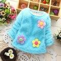 Девушки детская одежда осень-зима свитер для новорожденных девочек детская одежда одежда толстый бархат бренда спортивной цветок куртки свитера