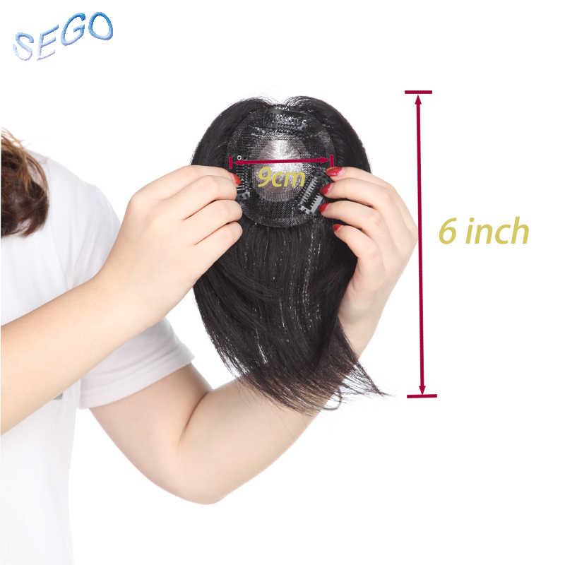 SEGO Lenght 6 ''20G Base de soldadura recta para el pelo Topper Toupee no Remy para mujeres Color Natural pelo humano cierre 150% densidad