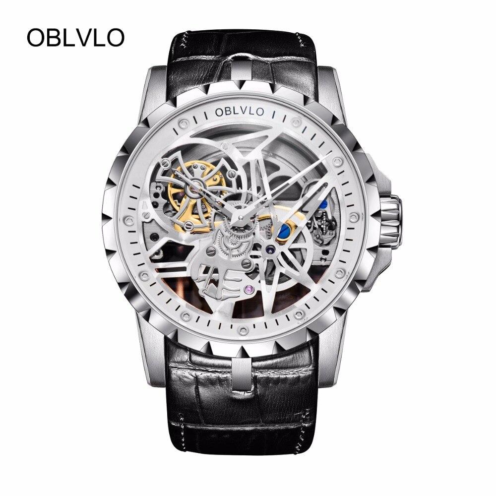 OBLVLO Luxus Öffnen Arbeit Design Herren Uhren Skeleton Zifferblatt Kalbsleder-Armband Edelstahl Uhr Automatische Bewegung Wasserdichte RM-1