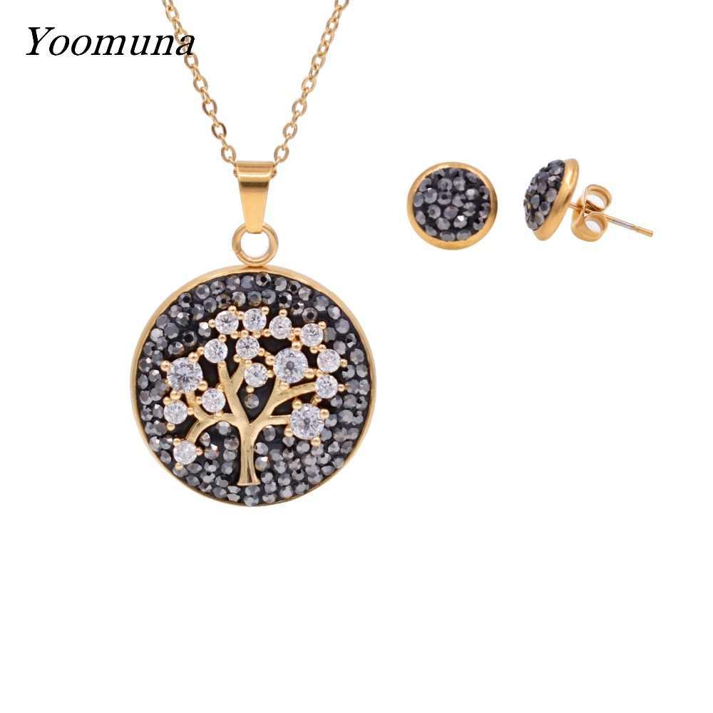 Yoomuna 2019 ขายร้อน Gold สีแฟชั่นชุดเครื่องประดับ Cubic Zircon สร้อยคอและต่างหูเครื่องประดับสำหรับผู้หญิง