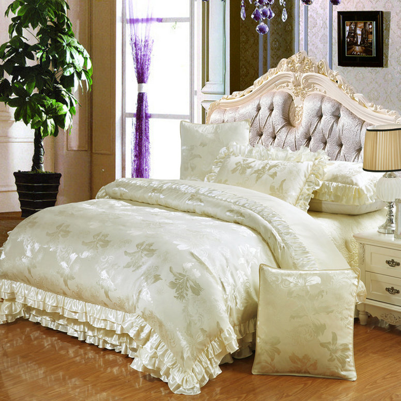 new cotton satin bedding set queen king size 4pc or 6pcs bed set duvet - Bedspreads King Size