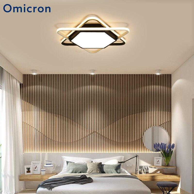 Omicron Black White LED Simple Ceiling Lights Hexagon Acrylic Metal Body Hexagon Lamp For Living Room Study Room Lights