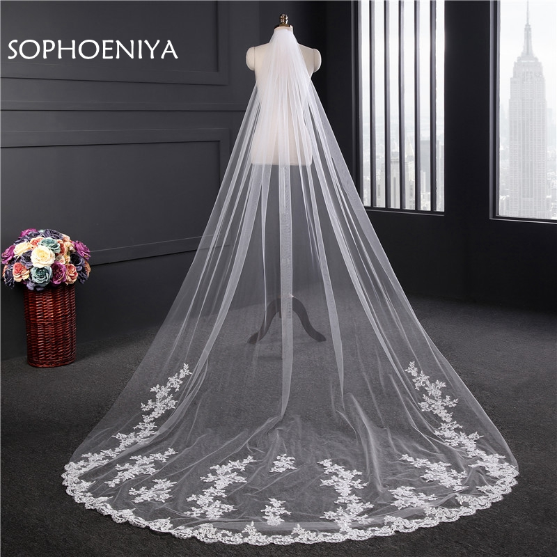 In stock white Ivory Lace Edge Bridal veil 2020 Velo de novia Sexy wedding veil with comb wedding accessories veu de noiva
