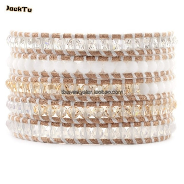 crystal stone with white thread leather bracelet women gift