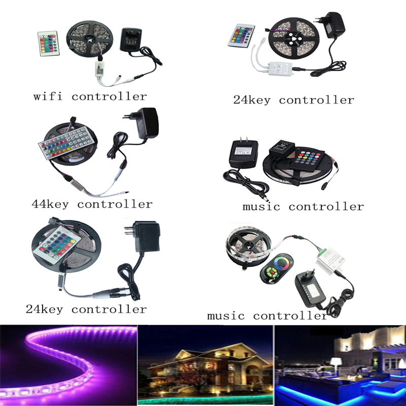 MERHOLE SMD RGB LED Light Strip <font><b>5050</b></font> 60eds/m Waterproof 5 M <font><b>10</b></font> M LED AC 220 V -110V DC 12V Adapter Power Strip Complete Series image