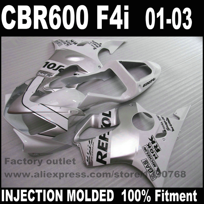 Motorcycle Injection Molded for HONDA CBR 600 F4i fairings 01 02 03 CBR600 2001 2002 2003 silver white REPSOL fairing kit RE60 injection molded parts for honda cbr 600 f4i fairings yellow black 2001 2002 2003 cbr600 f4i 01 02 03 motorcyle fairing kit hg5