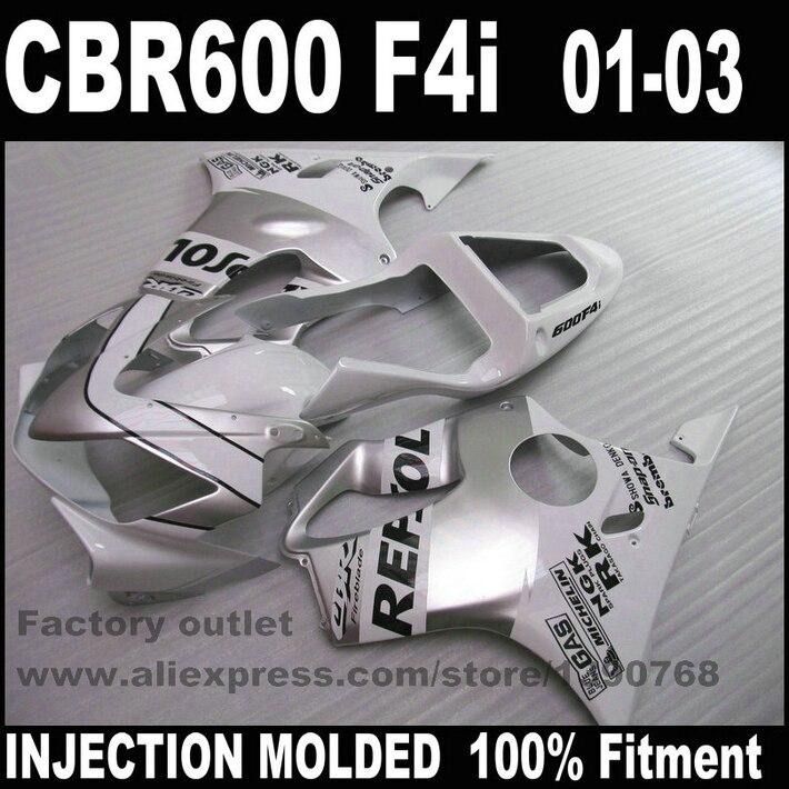Motorcycle Injection Molded for HONDA CBR 600 F4i fairings 01 02 03 CBR600 2001 2002 2003 silver white REPSOL fairing kit RE60 100% injection molding repsol for honda fairing parts cbr 600 f4i 01 02 03 cbr600 f4i 2001 2002 2003 body repair parts shjg