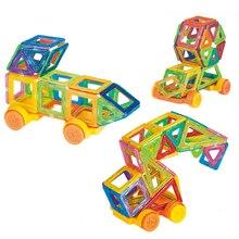 54 pcs/ensemble Mini Designer Magnétique Jouet Enfants Jouets Éducatifs En Plastique Creative Briques Éclairent Blocs de Construction cadeau De Noël