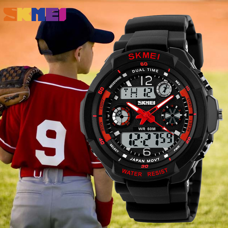 SKMEI Children Sports Watches Fashion Digital Quartz Dual Time Watch Boys LED Kids 50M Waterproof Wristwatches Relogio Outdoor skmei children led display digital watch 50m waterproof kids sports watches multifunction electronic boys students wristwatches