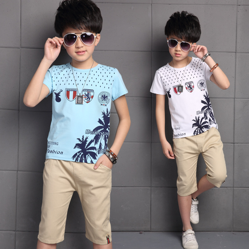 Children's Boy's Summer Wear New T-shirt Short Sleeve Shorts Two Pieces Suits Kids Clothing Sets White Blue Green Tree Printing