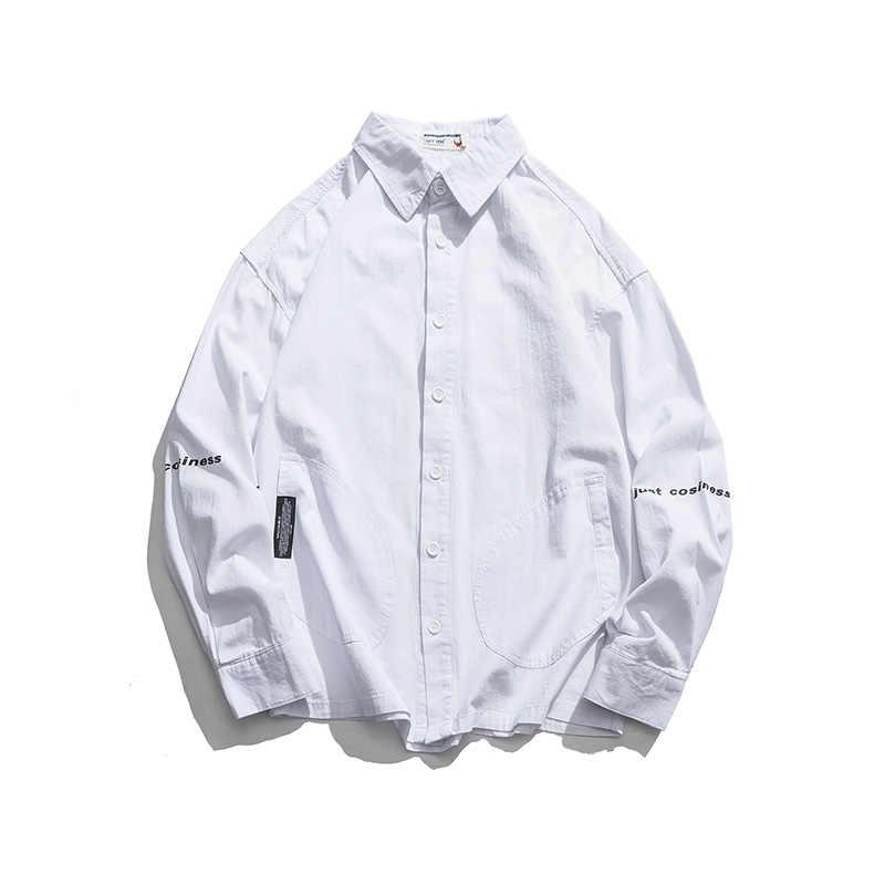 Новые модные брендовые тонкие мужские рубашки в западном стиле с длинными рукавами и принтом букв в стиле хип-хоп, Осенние повседневные винтажные мужские рубашки