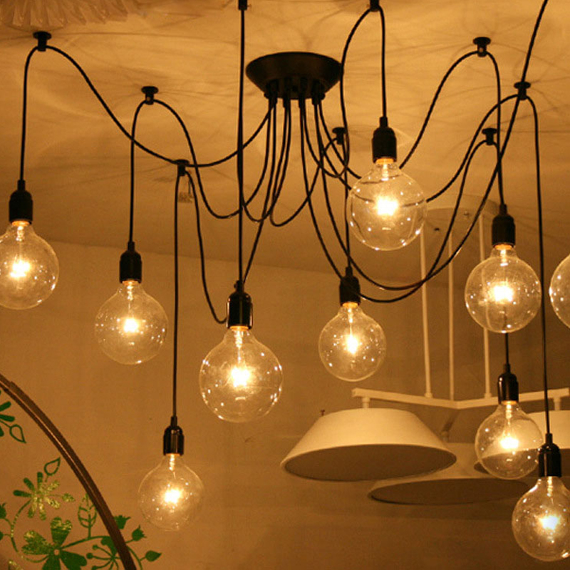 Retro Vintage Spider Pendant Lamps Loft Country Pendant Lights Industrial Creative Heavenly Maids Scatter Blossoms Home Lighting diy vintage lamps antique art spider pendant lights modern retro e27 edison bulb 2 meters line home lighting suspension