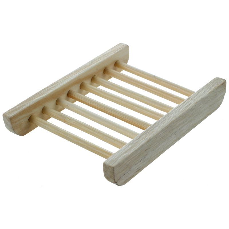 IALJ Top Wood-color Trapezoid Natural Wood Soap Plate Box Bath Soap Tray Holder Dish Shower Wash 12*9*1.7cm