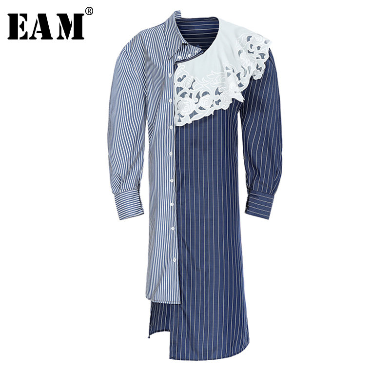 EAM 2019 New Spring Summer Lapel Long Sleeve Blue Striped Lace Split Joint Loose Big