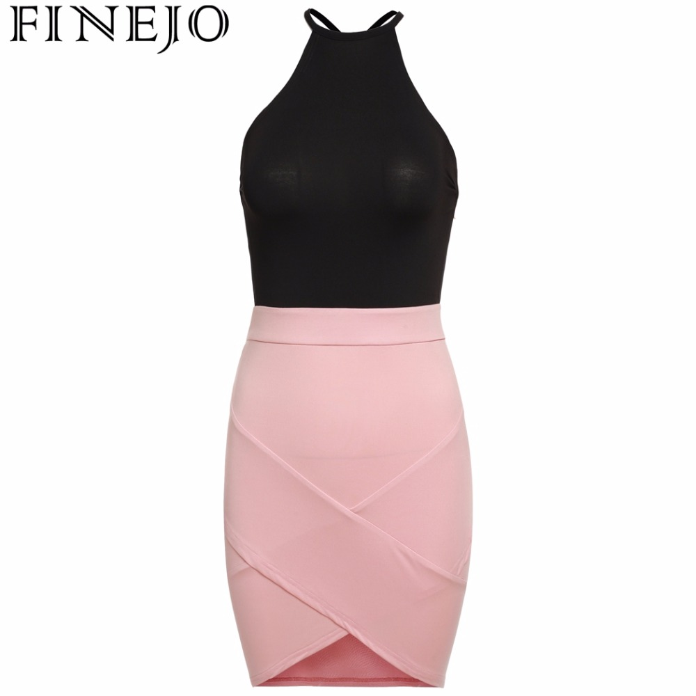 686f688473 Finejo kobiety halter off ramię bandaż dress backless patchwork sexy bodycon  casual party dress kobiety lato maxi sukienki