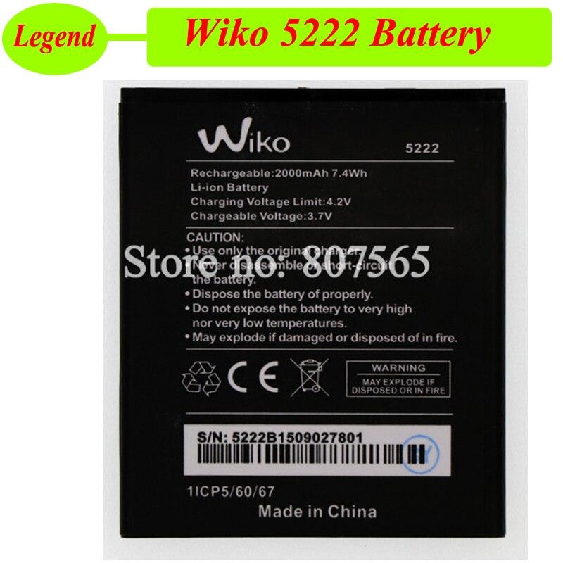 Wiko 5222 Battery 2000mAh High Quality Batterie Bateria Accumulator AKKU
