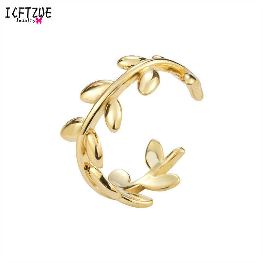 ICFTZWE Gold Silver Twist Leaf Rings For Women Leaf Shape Design Personality Vintage Jewelry Infinity Accessaries Homme Bijoux