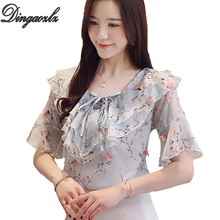 Dingaozlz Summer 2019 New Korean fashion clothing Flower Printed Tops Flare Sleeve Chiffon Shirt Bow tie Ruffles Women blouse dingaozlz m 4xl plus size women tops fashion clothing bow tie chiffon shirt solid color flare sleeve summer blouse blusa