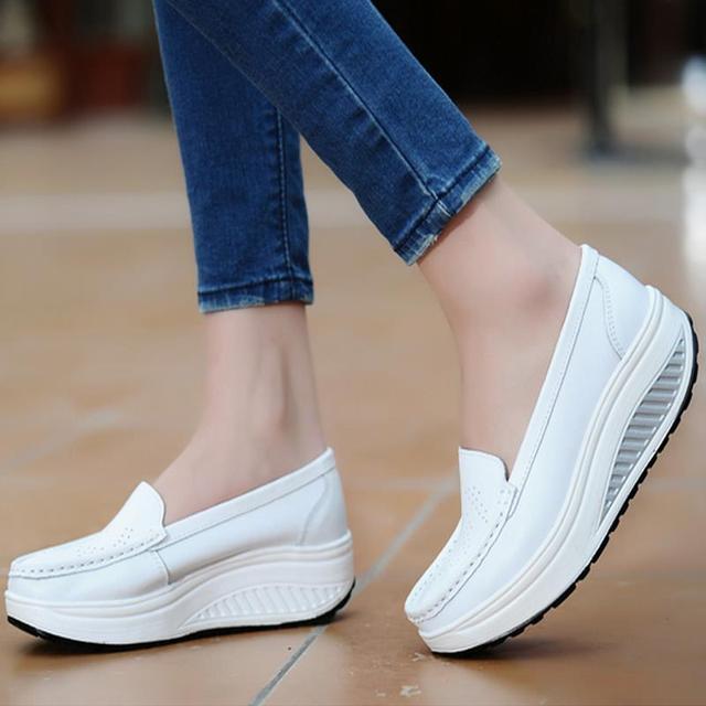 949e06441fa2 Zapatos de plataforma para mujer zapatos de cuero genuino mujer blanco negro  Rosa comodidad enfermera cuñas