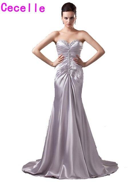 2017 formale Sexy Silber Lange Sweetheart Abendkleider Kleider Für ...