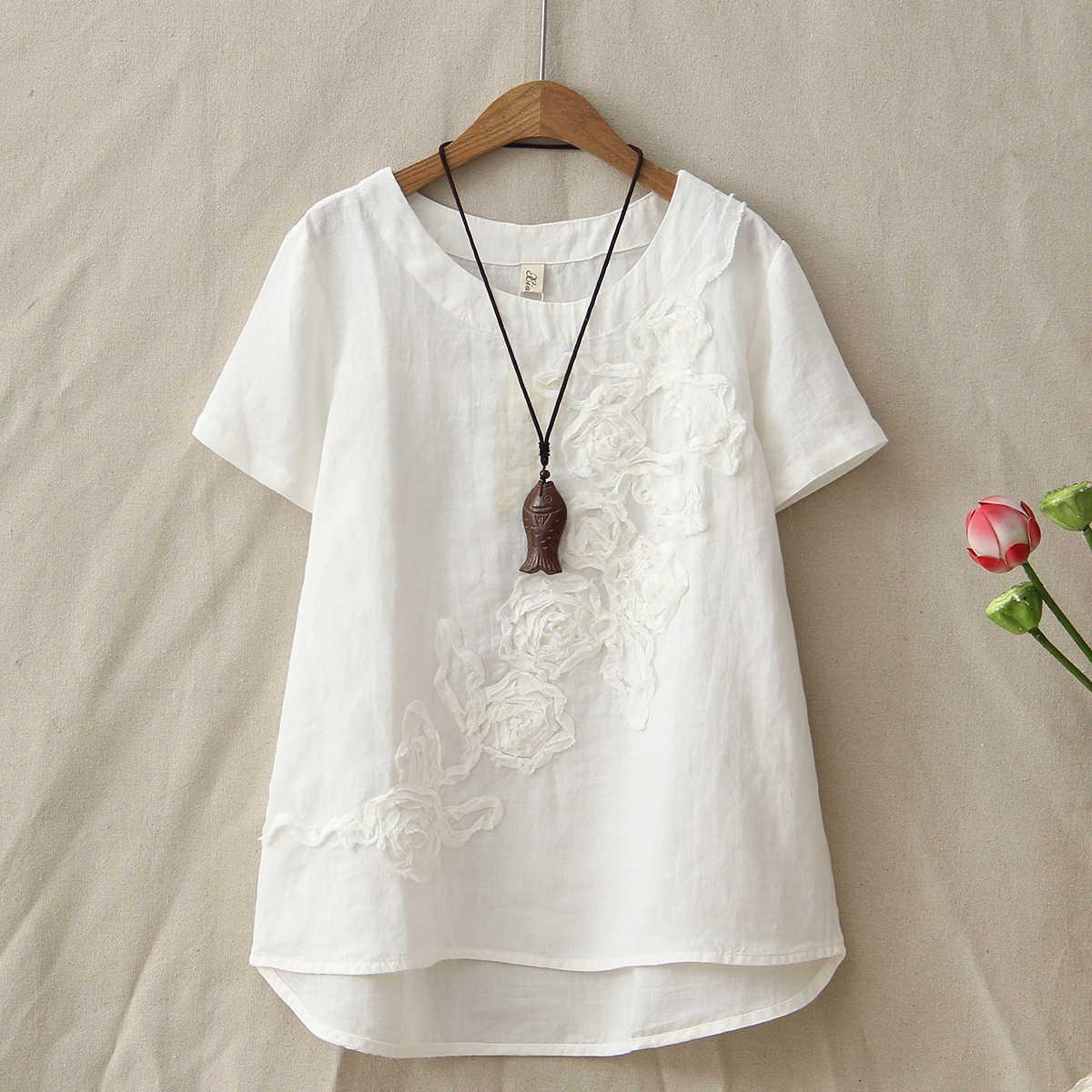 Летняя новая хлопковая и льняная футболка женская с коротким рукавом модная Цветочная вышивка Топы женские футболки нерегулярная одежда
