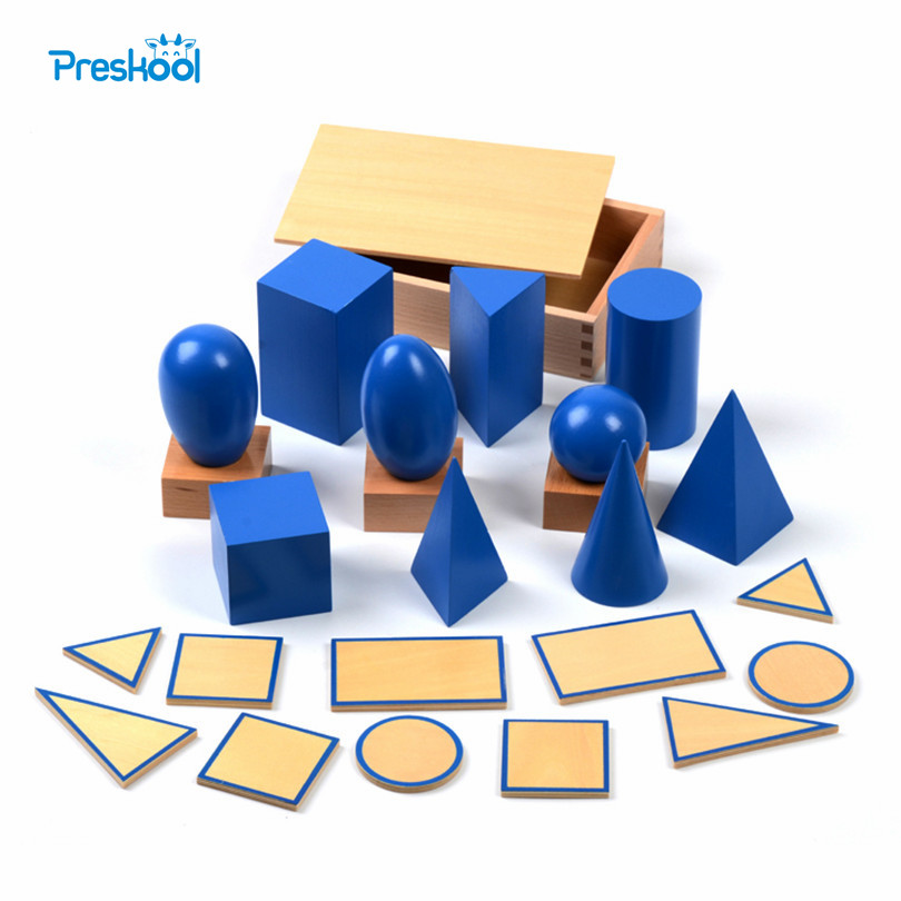 Home Nice Wooden Montessori Materials Montessori Geometric Solids With Base Learning Educational Toys For Toddlers Juguetes Brinqued Mh164