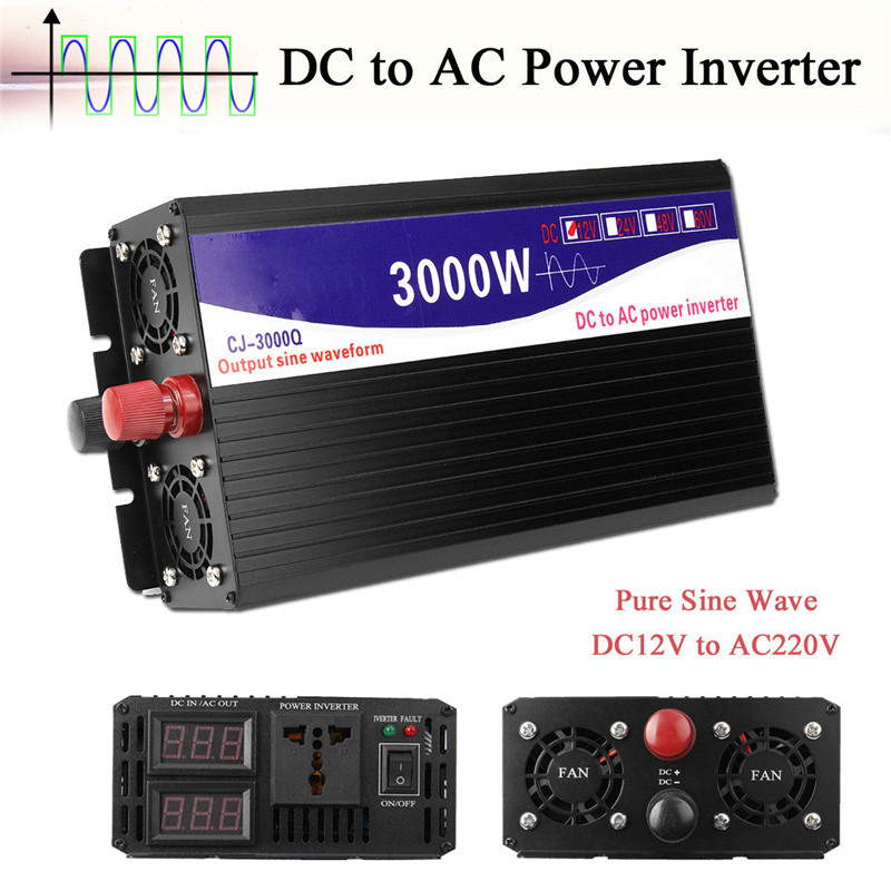 3000W Car Vehicle Power Inverter 12V DC To 220V AC Pure Sine Wave Converter Auto Transmitter Transformer Power Supply Inverter 3000w car vehicle power inverter pure sine wave 12v dc to 220v ac transmitter transformer power supply inverter