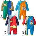 Novo Bebê meninos e meninas macacão de manga comprida roupa nova nascido Listrado estampas de animais macacão infantil criança traje
