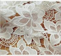 White Lace Fabrics with 3d flowers, Bridal Lace Fabric, lace fabric