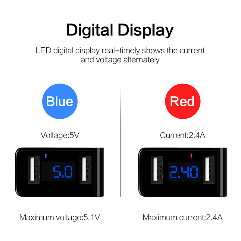 DCAE LED Display 2 USB Charger Fast Charger EU US Wall usb portable charger Adapter Mobile Phone cable for iPhone Samsung Xiaomi