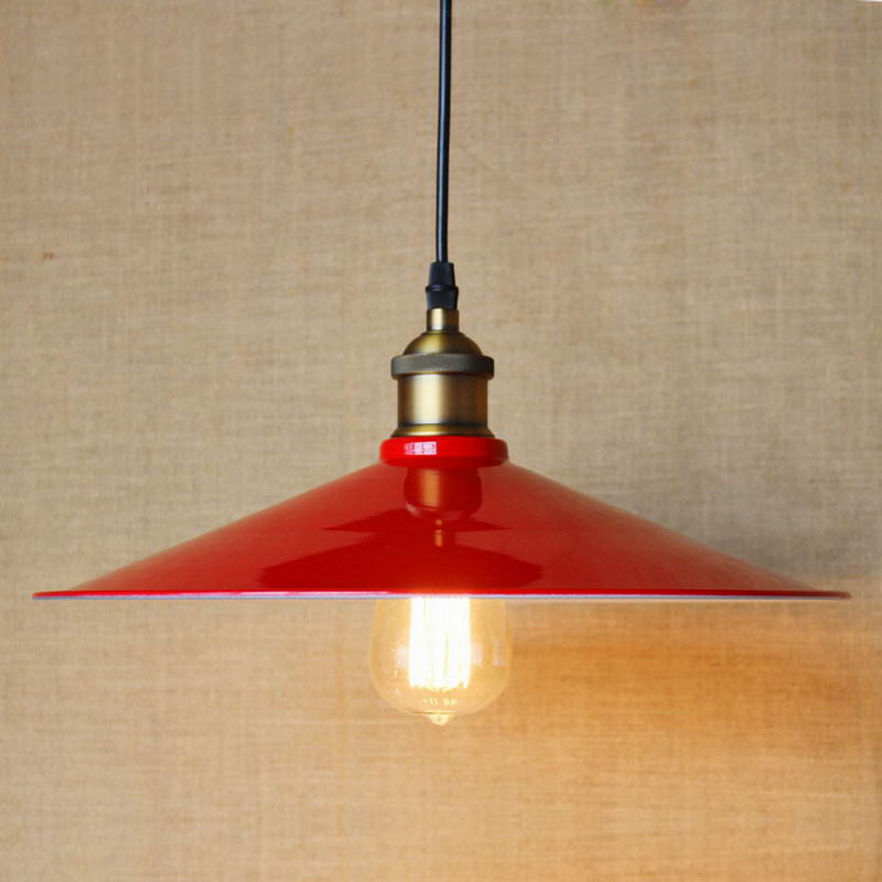 Edison Simple Vintage Metal Red Cover Pendant Lamp For