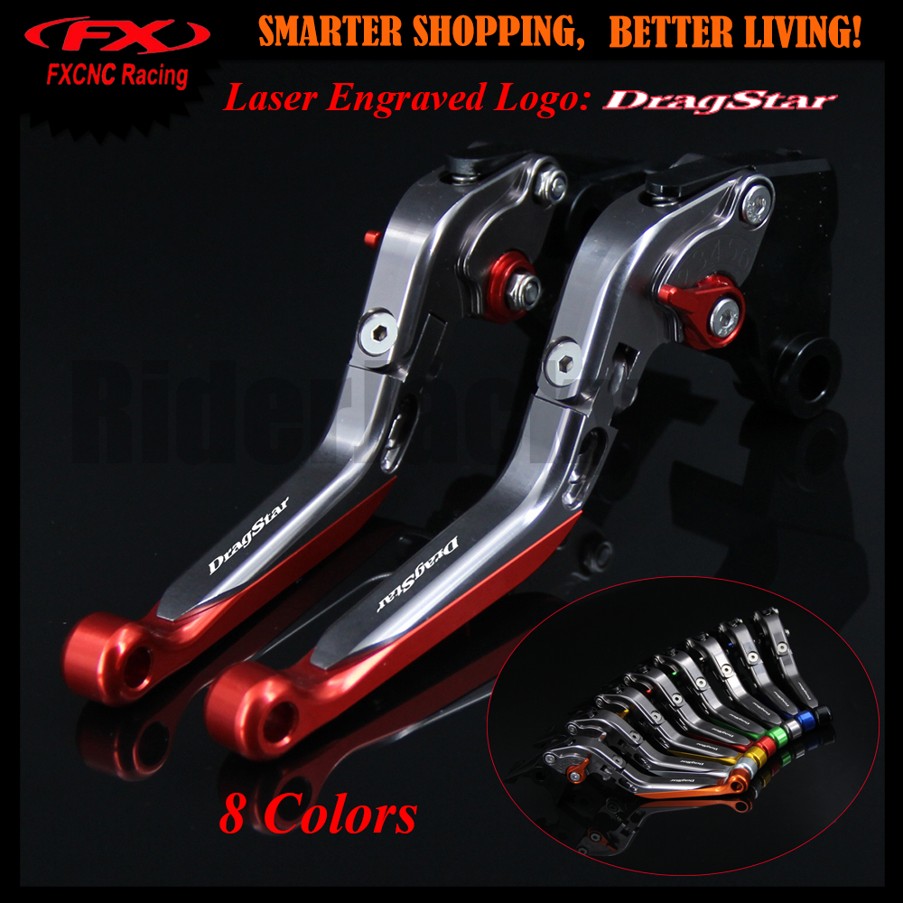 Red+Titanium Motorcycle Adjustable CNC Brake Clutch Lever For Yamaha XVS 650 XVS650 DRAGSTAR 1997-2003 1998 1999 2000 2001 2002 cnc motorcycle front brake clutch lever adjustable lever
