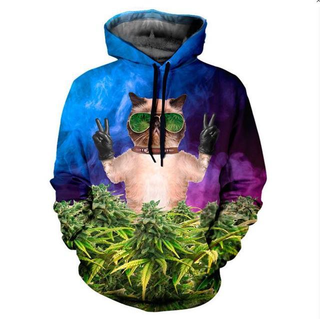 CAT CANNABIS HOODIE Galaxy Cute Kitten Weed Leaf 3D Print Hoody Pocket Hoodies Sweatshirts Women Men Tops Outfits Drop Ship
