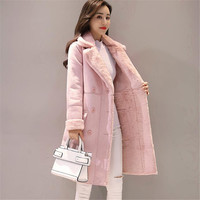 New Women Long Coat Autumn Winter Warm Velvet Thicken Faux Suede Coats Parka Female Solid Double Breasted Jacket Outwear AB691