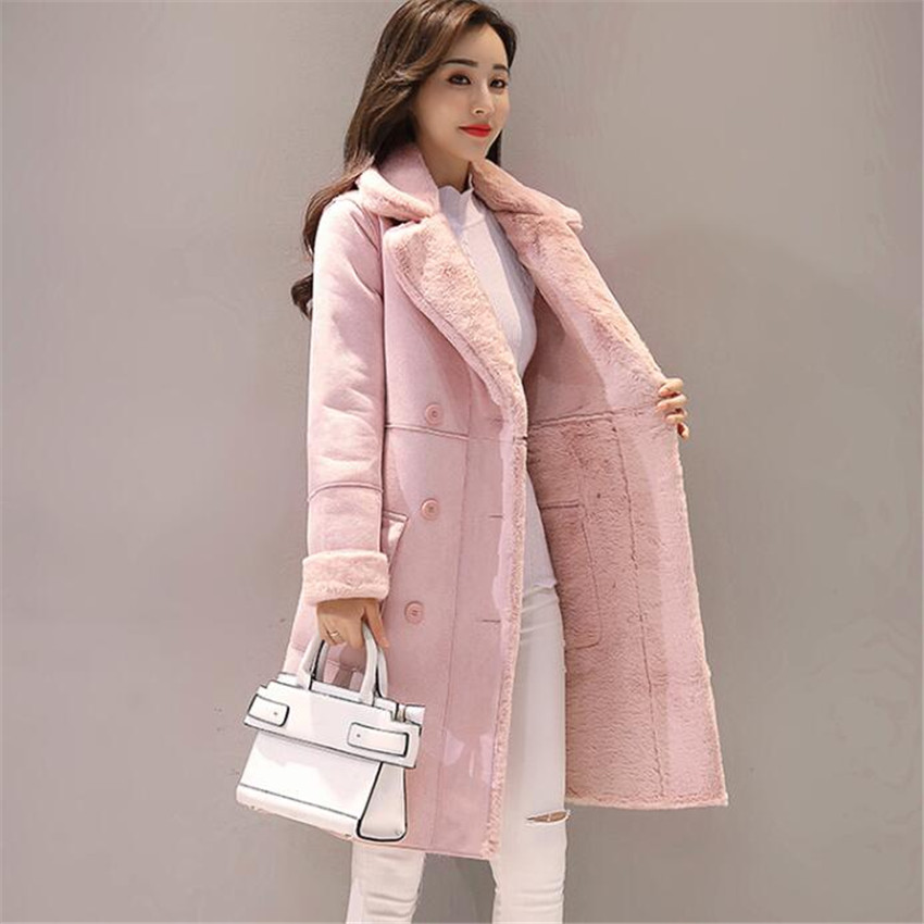 Nouveau femmes Long manteau automne hiver chaud velours épaissir Faux daim manteaux Parka femme solide Double boutonnage veste Outwear AB691