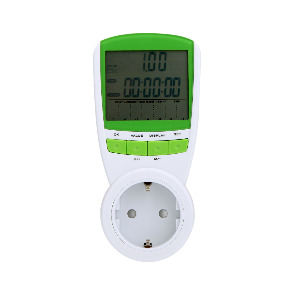 Power Energy Meter EU Plug Digital Voltage Wattmeter Power Analyzer Electronic Power Meter 230V 50Hz LCD Display Wattage
