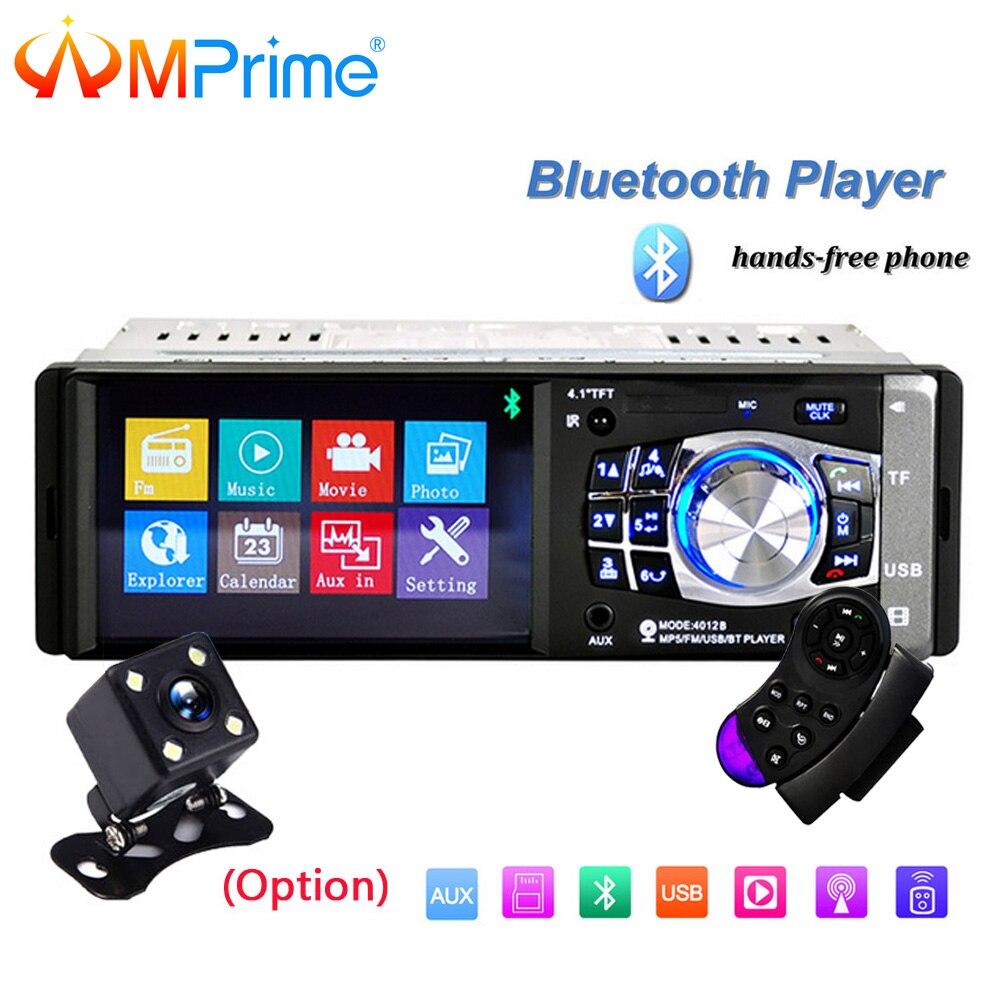 AMPrime 1 din Voiture Radio 4 HD MP5 Multimédia USB AUX FM Radio Autoradio Bluetooth télécommande Lecteur avec arrière Vue Caméra