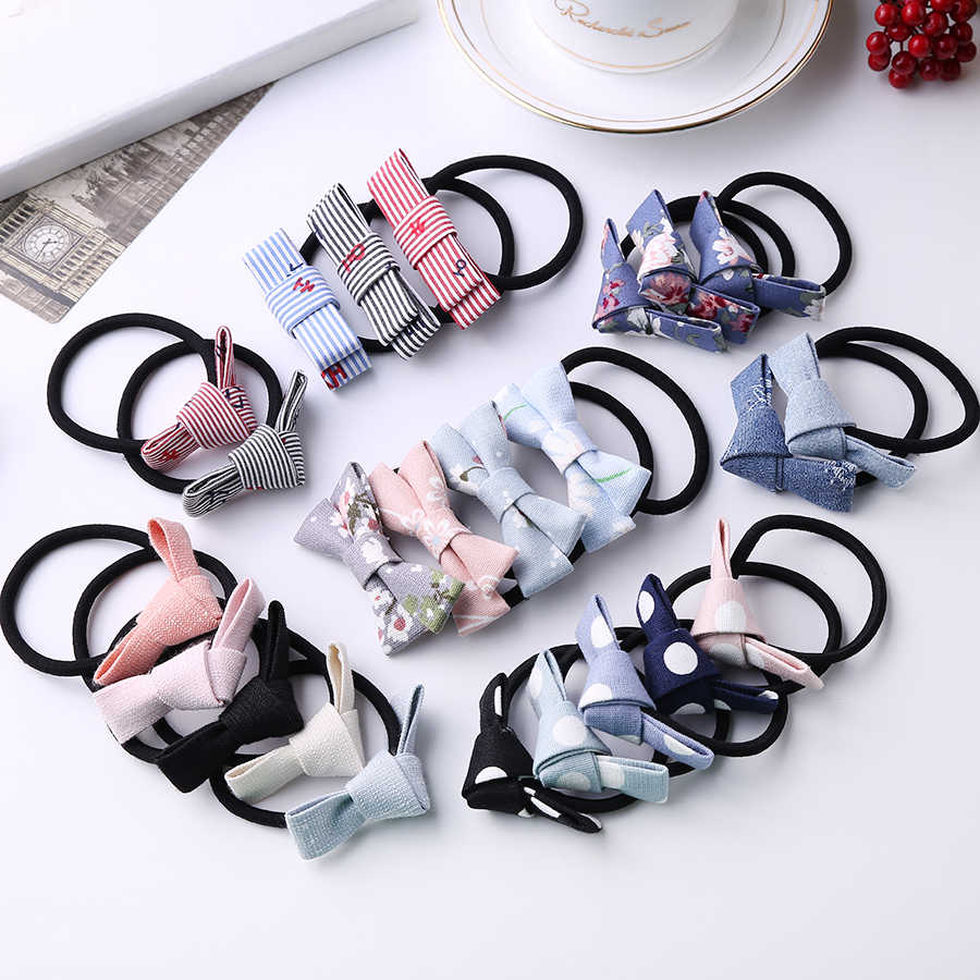 Fashion Korean Women Girls Headband Flower Bow Cloth Elastic Hair Bands Haar Accessoires Hairband for Women Gift 6 Pcs