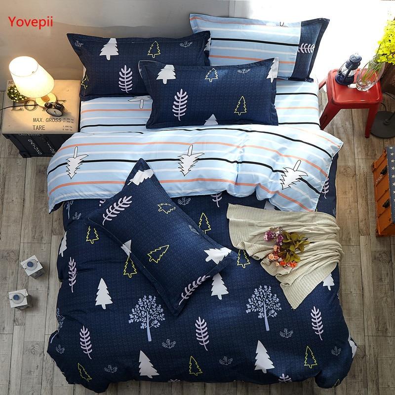 2018 reversible bedding set Pastoral duvet cover flat sheet modern bed linen darkblue bed set AB side home decor tree snowflake