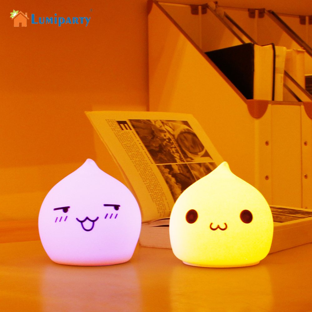 Lumiparty Colorful Night Light Led Lamp Water droplets Silicone Soft Cartoon Baby Nursery Lamp Gift atmosphere Desk Lamps