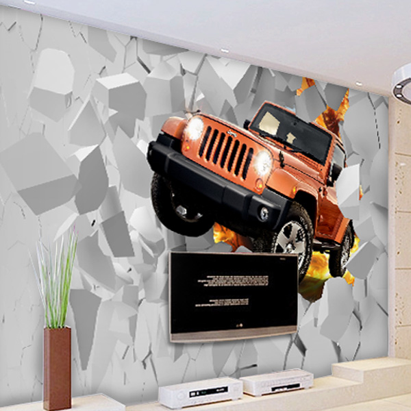 Free Shipping 3D Jeep car mural living room TV bathroom background wall sofa bedroom coffee house bar wallpaper mural  free shipping 3d personality wallpaper sofa tv coffee house bar backdrop living room bedroom bathrom wallpaper mural