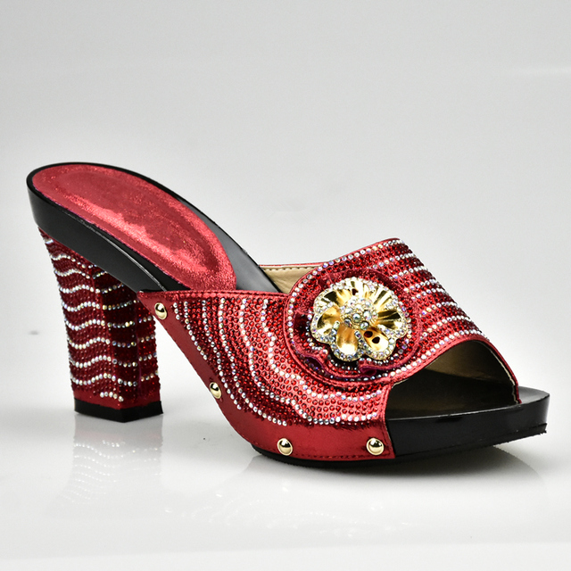Red Color Elegant Rhinestone Wedding Shoes Italian Women Sandals ...
