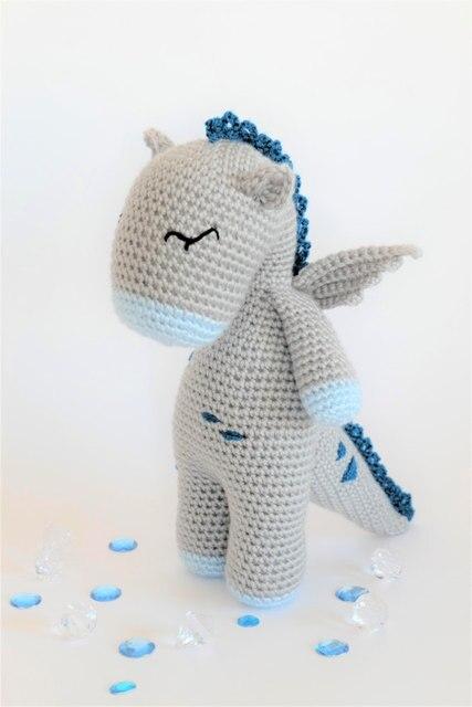 Gehaakte Amigurumi Dragon Knuffel baby Speelgoed pop rammelaar 1