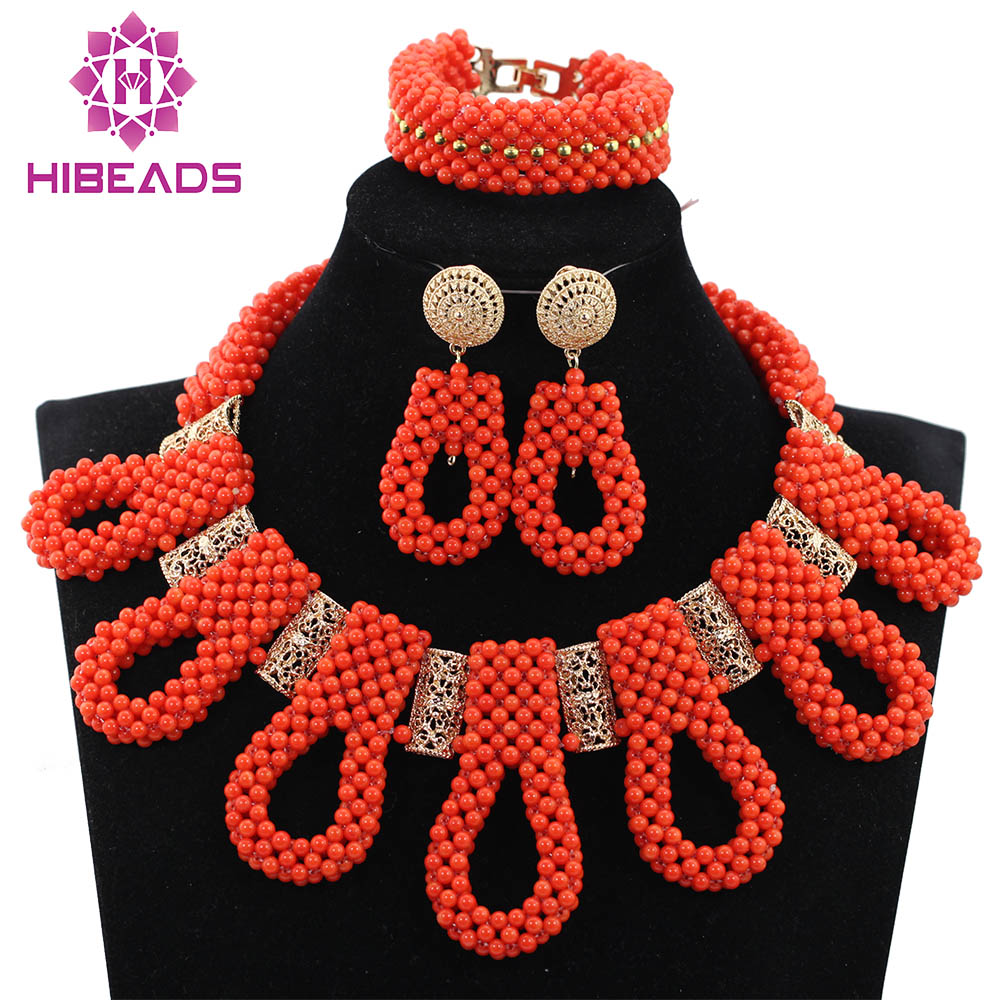 New Chunky Bib Beads Bridal Necklace Set Exclusive Orange Wedding Beads African Jewelry Sets Gold Accessory Free Shipping ABH350New Chunky Bib Beads Bridal Necklace Set Exclusive Orange Wedding Beads African Jewelry Sets Gold Accessory Free Shipping ABH350
