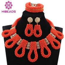 Новый Коренастый Биб Бусы Люкс Ожерелье Set Exclusive Orange Бусы Свадебные Африканских Ювелирные Наборы Золото Аксессуар Бесплатная Доставка ABH350