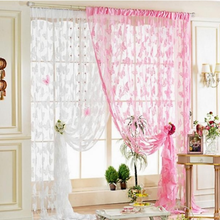 1 Piece New Lace Net Curtain Butterfly Print String Room Window Tassel Panel Home Textile Decor